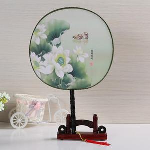 빈티지 춤 팬 중국 전통 라운드 폴리 에스테르 손 팬 무대 소품 홈 장식 수행
