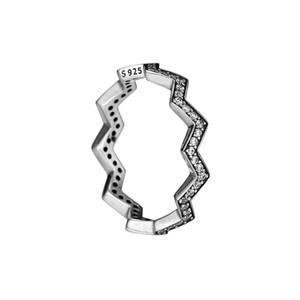 Compatibile con anello gioielli Pandora argento Shimmering Zigzag anelli con gioielli in argento sterling CZ100% 925 all'ingrosso fai da te per le donne