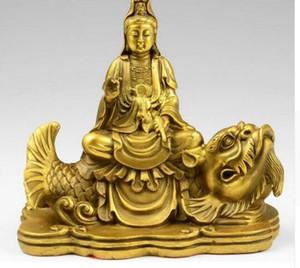 Tibet-Buddhismus-Tempel-Messingkupfer GuanYin Kwan-yin Bodhisattva-Fahrtfisch-Statue