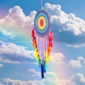 Colorato a mano Dream Catcher circolare con piume Hanging Decoration Ornament Craft regalo all'uncinetto Dreamcatcher Wind Chimes MS0004
