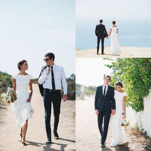 Romantic Beach Full Lace Wedding Dresses Cap Sleeves Floor Length Bateau Neck Sheath Bridal Gowns Country Style
