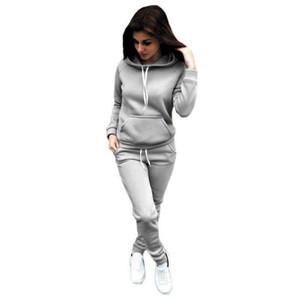 2 pçs / set Mulheres Hoodies com capuz tops de algodão manga comprida moletom + suor calças longas mulher outono inverno 2 pcs roupas de outfits quentes