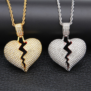 Iced out Broken Love Heart Collane con ciondolo Uomo strass Crystal strass Love charm Oro argento Catena intrecciata Per le donne Gioielli hip hop