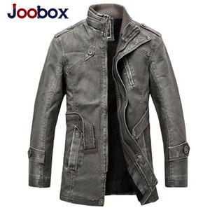 JOOBOX 2018 Inverno Jaqueta De Couro Da Motocicleta Roupas Masculinas Nova Moda Forro De Lã Quente Mens PU jaquetas De Couro e casacos Cinza