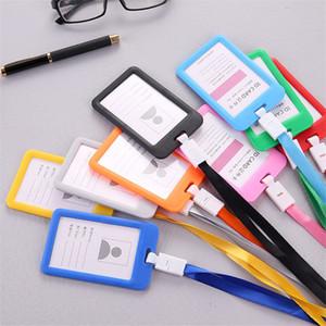 사탕 색깔 정체성 배지 끈 플라스틱 작업 ID 넥 스트랩 카드 버스 소지자 끈이있는 버스 카드 액세스 학생 카드 소지자