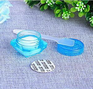 kağıt maske kap için vidalı kapak ile Okyanus mavi renk plastik krem kavanoz 5g elmas kristal bazlı plastik dudak kremi kavanoz kap