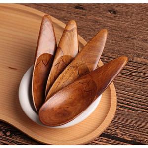 4pcs / Lot japanisches Geschirr Kreative Holzlöffel kleiner Sondersuppenlöffel Massivholzküchengeräte für Kinder