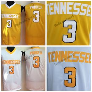 Jahrgang Tennessee Freiwillige Candace Parker College Basketball Jerseys Günstige Gelb Mens # 3 Candace Parker Genähte Hemden