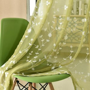 Embroidery Sheer Curtain for Living Room Three-Dimensional Embroidery Linen Tulle Curtain for Bedroom Eco-Friendly Fabric Curtain