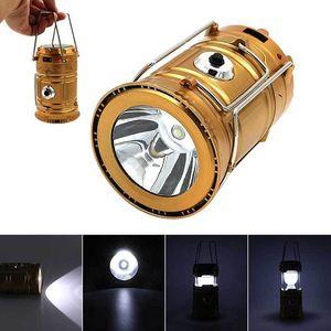 6 LEDs Carregador Solar portátil Lanterna de Emergência Camping Lanternas à prova d'água Mão recarregável Crank luz da lâmpada