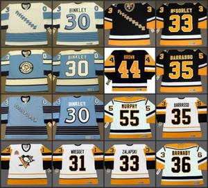 بيتسبرغ البطريق 30 LES BINKLEY 31 KEN WREGGET 33 MARTY McSORLEY 33 ZARLEY ZALAPSKI 35 TOM BARRASSO Vintage Away Hockey Jersey