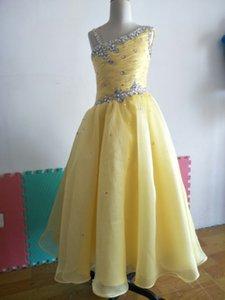 Lovely Organza A-Line Long Top Beaded One Shoulder Princess Flower Girls Dress Zipper Yellow Children Wedding Dresses Girls Pageant Dresses