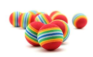 Diámetro 35mm Perro de juguete y juguetes para mascotas Interesante Juguete de peluche super lindo Rainbow Ball toy C114