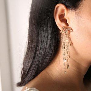 Мода длинные звезды кисточкой серьги блеск висит тонкие серьги золотые и серебряные аксессуары
