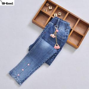 GB-Kcool Yüksek Kaliteli Kız Kot Pantolon Bahar Çocuklar Kıyafet Delik Pantolon Sonbahar çocuk Skinny Jeans Öğrenci Uzun Pantolon