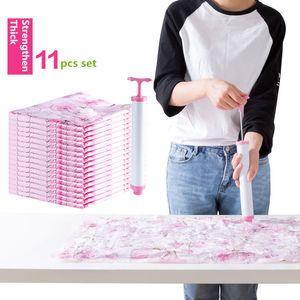 حقيبة ضغط فراغ سميكة 11 قطعة مع مضخة يدوية كبيرة الحجم حقيبة شفط الهواء لحاف حقيبة فراغ