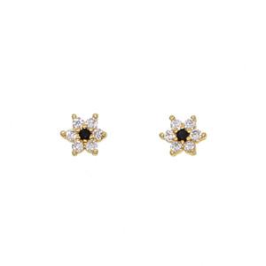 mignonne belle fille boucle d'oreille usine gros promotion bijoux 5mm minuscule cz fleur blanc noir cz minimal adorable minuscule studs