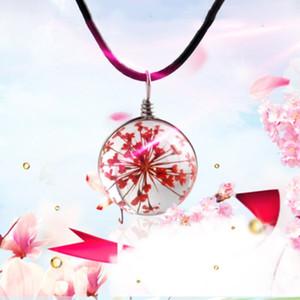 5pcs / lot Getrocknete Blumen / künstlicher Kristall Pendent Halskette für Frauen Modeschmuck Zubehör Halskette Partei Weihnachtsgeschenke