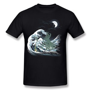 New Design Man 100% Cotton Fabric The Wave of Rlyeh T-Shirts Man Round Collar Yellow Shorts T-Shirt For Sale 3XL Party T-Shirts