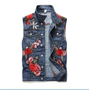 Klasik Vintage erkek çiçek nakış denim Yelek Kolsuz Kot Ceket Tops Ince Yelek erkekler giyim ABD Boyutu M-XXXL