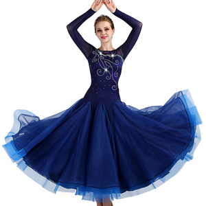 Lady Ballroom Dance Dress Femmes Valse Moderne Danse Costumes Latin Tango Compétition Costumes Diamant Décorer DL2751