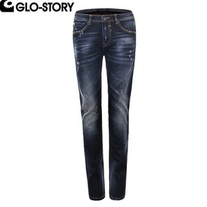 GLO-STORY Hombre apenado Lápiz rasgado Jeans Homme Motor Biker Skinny Pants MNK-5092