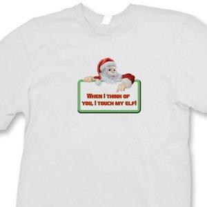 Quando eu penso em você Eu Touch My Elf T-shirt do humor do Natal rude Camiseta