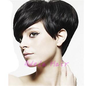 Kısa İnsan Saç Peruk Malezya Pixie İnsan Saç peruk Siyah Kadınlar Için Dantel peruk Tam Dantel Saç Peruk ile Bang