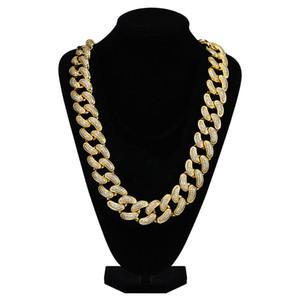 28mm dos homens tamanho grande cadeia de ligação cubano hip hop iced out cubic zirconia colar de latão ouro cor prata jóias