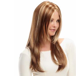 18 дюймов Женщины моды парик Браун Mix белый прямой синтетический парик Glueless Two Tone Brown жаропрочных волос Арика парики