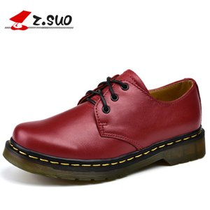 spring autumn women genuine leather flats shoes z.suo  Handmade oxfords for lady lace-up casual cow leather shoes women