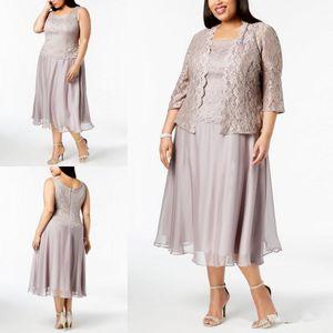 Plus Size Lace Mutter der Braut Kleider mit Jacke Langarm Hochzeit Gast Kleider Tee Länge Mutter Kleid Custom