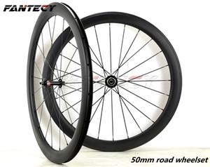 FANTEC бесплатная доставка 700C 50 мм глубина дорожный велосипед полный углерода колеса 23 мм ширина Clincher / трубчатые дороги wheelset с Powerway R36 концентратор