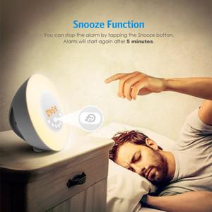 Nuevo reloj despertador Luz de despertador 7 colores Luz nocturna Radio despertadores para niños y dormitorios Pantalla LED Control táctil Reloj despertador Sunrise
