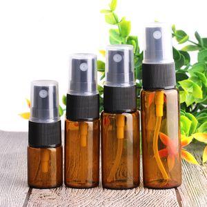 Botella 5 ml 10 ml de vidrio ámbar de viajes atomizador de pulverización de botellas de perfume de la piel Cuidado de agua recargable Pequeño envase cosmético 100 piezas