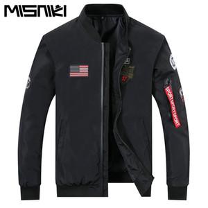 MISNIKI 2018 nuevas llegadas primavera hombres chaqueta militar outwear slim fit piloto bomber chaqueta abrigo CYG334