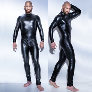 Neuer Mann Sexy Latex Catsuit Leder Bodysuit Teddy schwarz glänzend Erotische Dessous Bodysuits Zentai Körper tragen One Piece Overall