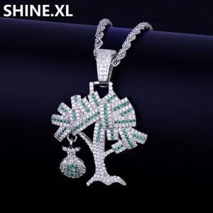 Замороженные доллар дерево ожерелье два тона микро проложили Циркон мужчины золотая цепь хип-хоп ювелирные изделия для подарка