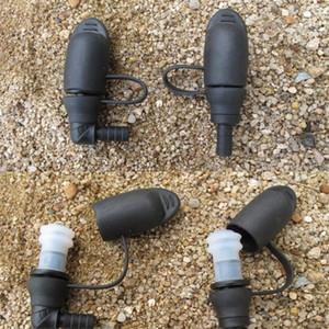 En plein air sacs d'eau Tube silicone Noir Bleu 90 degrés droite Hydration Pack d'aspiration Buse Bite Valve Camping Randonnée Équipement 7 5xc bbWW