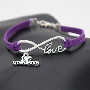 Infinity I Love Gymnastics Charm Bracelet Bangles para Mujeres Hombres Niños Suerte Púrpura Cuerda de Cuero Amistad Deseo Joyería Regalo ajustable