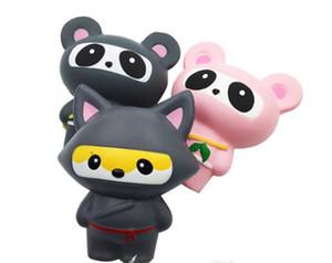 Matschig Ninja Panda Fox-Rosa-Grau die Simulation Tier PU Slow Rebound-Jumbo kawaii Anhänger Staps Charm Dekompression Squishies Spielzeug