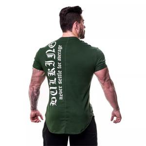 Mens Fitness GYM Tshirts 근육 운동 여름 스포츠 T 셔츠 반팔 탑스 Hommes Tee