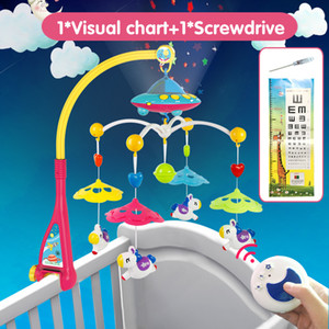 Musical Crib Mobile Bed Bell Baby Rattle Rotating Bracket Projecting Toys for 0-12 Months Newborn Kids Christening gift