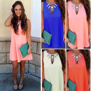 Hot Fashion Womens Sexy Boho Short Mini Vestidos Ladies Summer Beach Party Sundress Tamaño 6-22 4 colores
