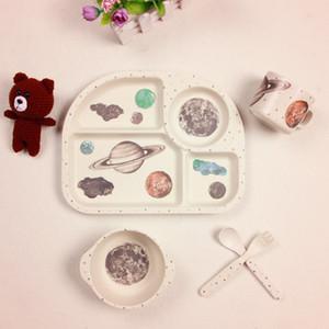 5pcs / set Bambusfaser Kinder Geschirr Sets Säuglingsernährung Teller Geschirr BWith Cup-Gabel-Löffel Cartoon-Tier-Kind-Essgeschirr