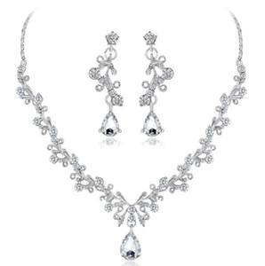 Elegante set di gioielli da sposa bianco K K Crystal Water Drop collana orecchini set di gioielli per le donne