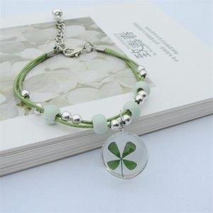 Nouveau Boho Vintage Charme Bracelet À La Main Véritable Fleur Sèche Boule De Verre Tissage Bracelets Réglables pour Femmes