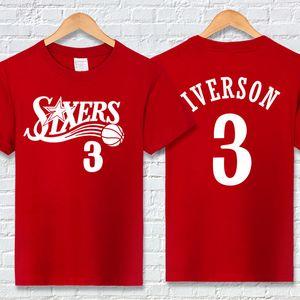 Equipe de basquete camiseta camisa dos homens t de designer de camisa de t dos homens top iverson 76 carta impressão casual camisas tripulação pescoço de manga curta ativo verão