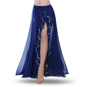 Kadın Oryantal Dans şifon etek Profesyonel Belly Dance Kostüm Dalgalar Etek Elbise Yarık Karnaval Bollywood Renk ile 10