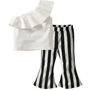 Vieeoease Girls Sets Kids Clothing 2018 Summer Sleeveless Lotus Leaf Edge T-shirt + Stripe Flare Pants Children Outfits 2 pcs EE-823